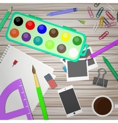 Artist and designer desk in vector