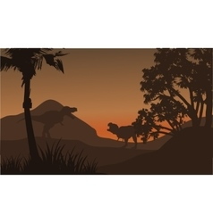 At afternoon tyrannosaurus in hills of silhouette vector image
