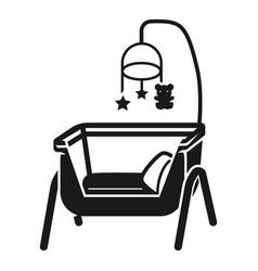 baby cot icon simple style vector image
