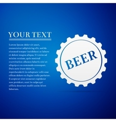 Beer bottle cap flat icon on blue background vector image vector image