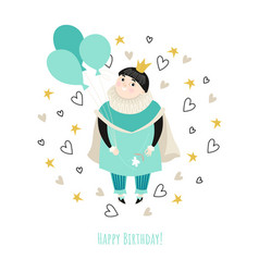 Birthday card for a boy with a cute prince vector