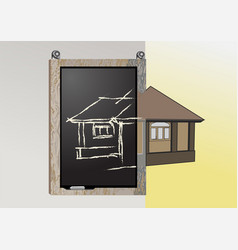 Blackboard with architectural project vector