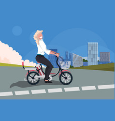 blonde woman cycling bicycle girl riding vintage vector image