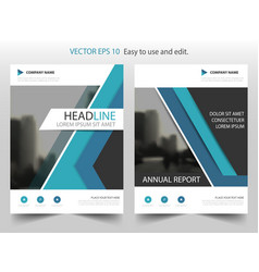 Blue triangke annual report leaflet brochure vector