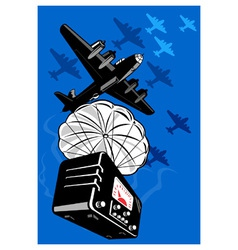 bomber airplane dropping radio parachute vector image