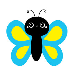 butterfly flying insect icon bakids collection vector image