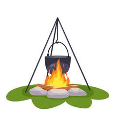 camping pot over bonfire vector image