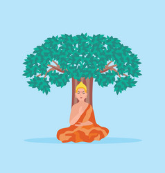 cartoon buddha sitting under a tree - hinduism vector image