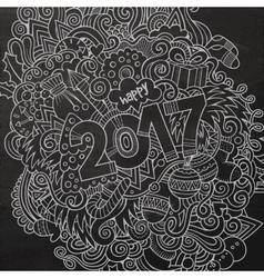 Cartoon cute doodles hand drawn 2017 year vector