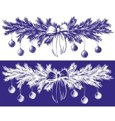 Christmas background with fir twigs and balls hand vector image