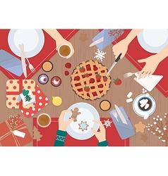 Christmas Dinner on wood table Design vector