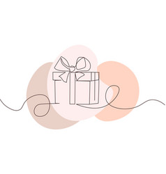 continuous line drawing gift box with bow vector image