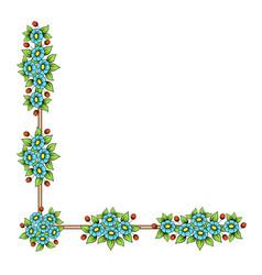 daisy flowers corner frame vector image