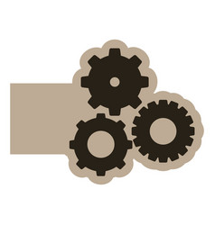 dark contour gears icon vector image