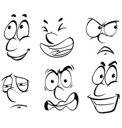 different emotions on human face vector image