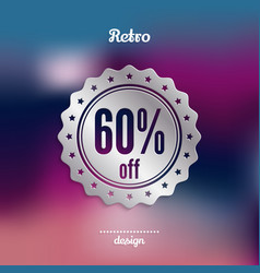 discount silver badge sixty percent offer vector image