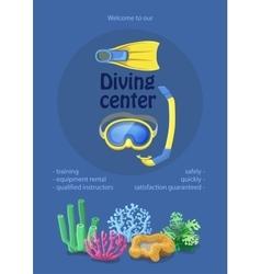 Dive center design diving mask snorkel flippers vector image