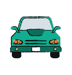 Drawing car sedan vehicle transport icon vector
