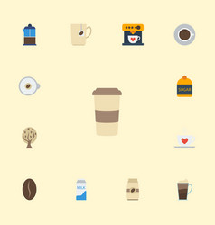 Flat icons french press cappuccino arabica bean vector