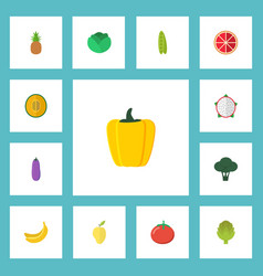 Flat icons pitaya ananas muskmelon and other vector