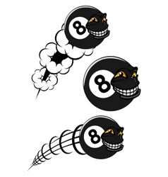 Flying victorious number 8 billiard ball icons vector