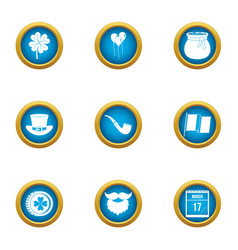 Fortune icons set flat style vector