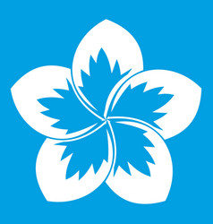 Frangipani flower icon white vector