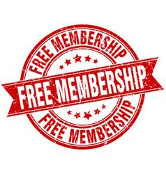 Free membership round grunge ribbon stamp vector