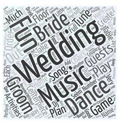 Fun wedding music activities Word Cloud Concept vector