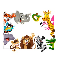 Funny group jungle animals vector