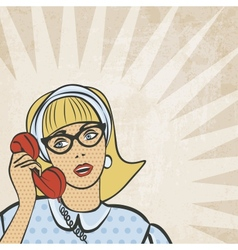 Girl with telephone in retro style vector