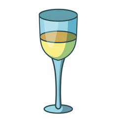 glass of white wine icon cartoon style vector image