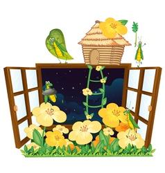 Grasshopper bird house and window vector
