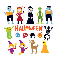halloween monster characters set vector image