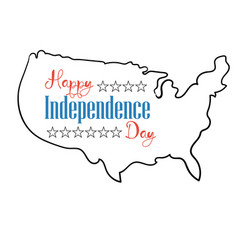 Happy independence day card silhouette map united vector