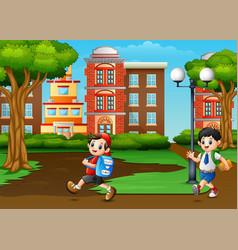Happy school children pass city park vector
