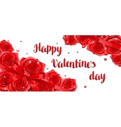 Happy Valentine day banner with red realistic vector image