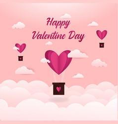 Happy valentine with love balloon background vector