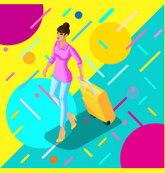 isometric girl with a suitcase goes to the plane vector image