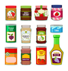 jars with canned fruits and others different goods vector image