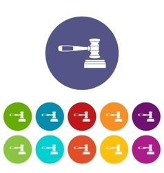 Judge gavel set icons vector image