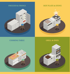Kitchen equipment 2x2 design concept vector