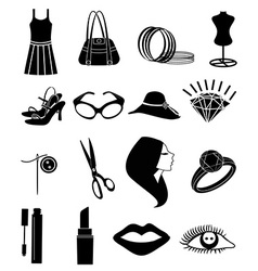 Ladies cosmetic accessories icons set vector