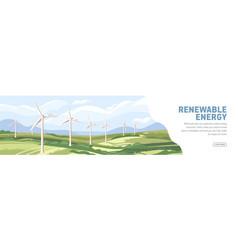 landscape with wind turbines windmills on web vector image