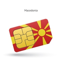 Macedonia mobile phone sim card with flag vector image