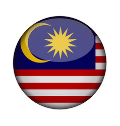 Malaysia flag in glossy round button of icon vector