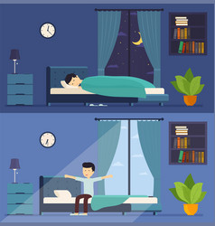man sleeps in bed at night and wakes up in the vector image