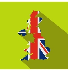 Map of UK of the national flag icon flat style vector image