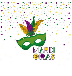 mardi gras background with green mask vector image