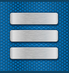 Metal rectangle plates on blue perforated vector